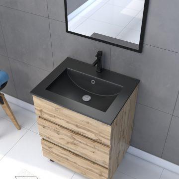 Meuble salle de bain 60 x 80cm - Finition chene naturel + vasque noire + miroir - TIMBER 60 - Pack13