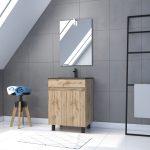 Meuble salle de bain 60x80 - Finition chene naturel + vasque noire + miroir Led - TIMBER 60 - Pack19