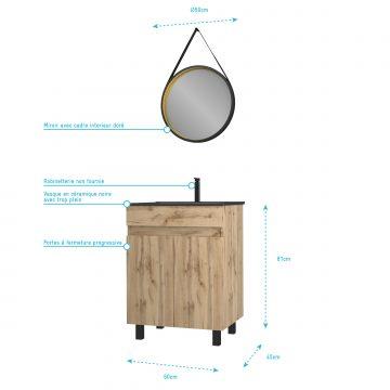 Meuble salle de bain 60x80 - Finition chene naturel + vasque  + miroir barber - TIMBER 60 - Pack20
