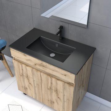 Meuble salle de bain 80x80 - Finition chene naturel - vasque noire + miroir Led - TIMBER 80 - Pack23