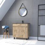 Meuble salle de bain 80x80 - Finition chene naturel - vasque noir + miroir  - TIMBER 80 - Pack24