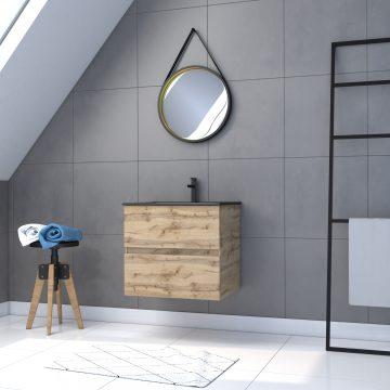 Meuble salle de bain 60x54 -Finition chene naturel + vasque noire + miroir barber-TIMBER 60 - Pack30