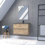 Meuble salle de bain 80x54 - Finition chene naturel + vasque noire + miroir Led - TIMBER 80 - Pack33