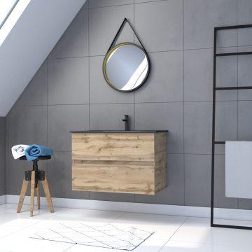 Meuble salle de bain 80x54 - Finition chene naturel - vasque + miroir barber - TIMBER 80 - Pack34