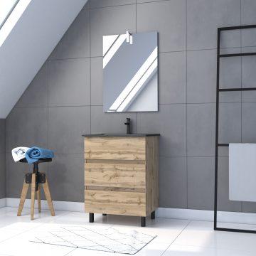 Meuble salle de bain 60x80 - Finition chene naturel + vasque noire + miroir Led - TIMBER 60 - Pack39
