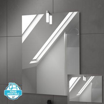 Meuble salle de bain 80x60 - Finition chene naturel + vasque noire + miroir Led - TIMBER 80 - Pack43