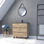Meuble salle de bain 80x60 - Finition chene naturel + vasque + miroir barber - TIMBER 80 - Pack44