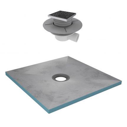 Bac receveur de douche à carreler 90x90cm recoupable sur mesure + Bonde horizontale - RAINY