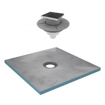 Bac receveur de douche à carreler 90x90cm recoupable sur mesure + Bonde verticale - RAINY