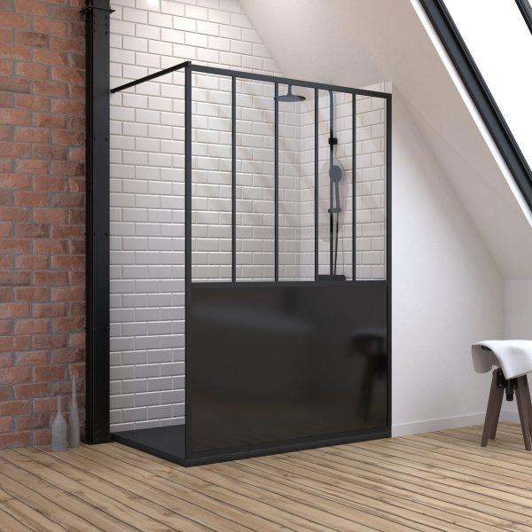 Pack Paroi de douche 90x200 cm noir mat + Receveur à poser en matériaux composite SMC - 90x140cm