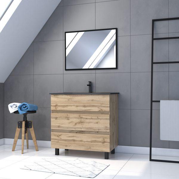 Meuble salle de bain 80x80 cm - Finition chene naturel + vasque noire + miroir - TIMBER 80 - Pack17