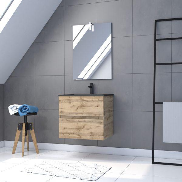 Meuble salle de bain 60x45x54 - Finition chene naturel + vasque noire + miroir Led - TIMBER 60 - Pack29