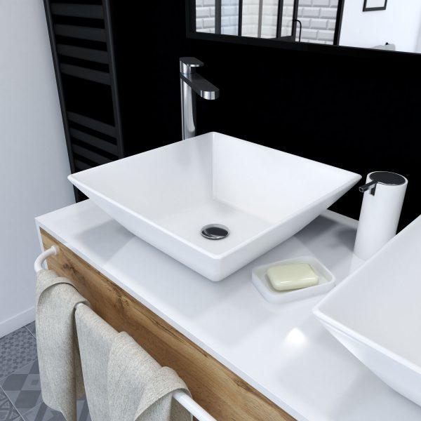 Vasque à poser carrée en céramique 42x42x13cm - ASLANT