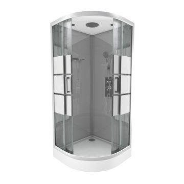 Cabine de douche 1/4 de cercle 90x90x215cm avec bande depolie - SILVERY STRIPE ROUND