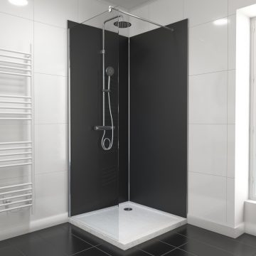 PACK PANNEAUX MURAUX NOIR en aluminium avec profile d'angle et finition ANODISE BRILLANT - 90 x 90cm