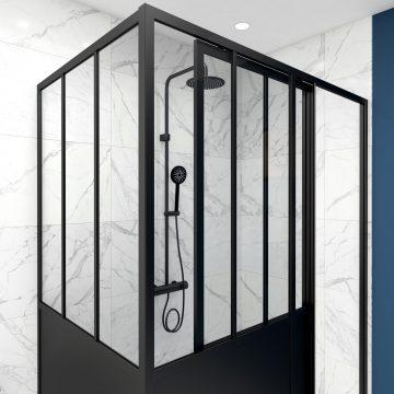 Pack paroi de douche coulissante 140x200 cm + retour 90cm type atelier - PROFILE NOIR MAT