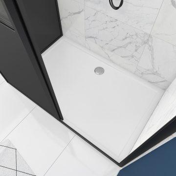 Pack Porte coulissante 120x200 + paroi retour et panneau aluminium composite + receveur 120x90