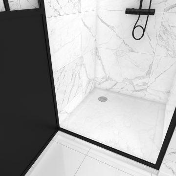 Pack Paroi porte de douche pivotante 90x200cm et receveur - PROFILE NOIR MAT - verre 5mm + receveur