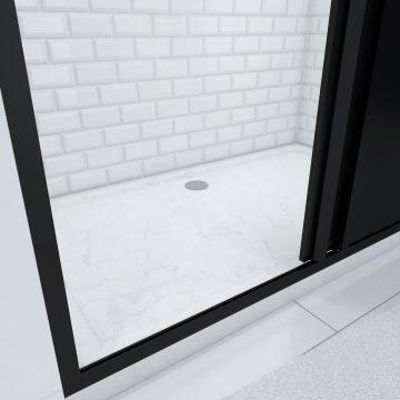 Paroi de douche coulissante type atelier  - 120x200cm + receveur - PROFILE NOIR MAT - verre 5mm