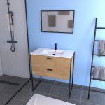 Ensemble meuble de salle de bain 80x45cm style industriel couleur chene naturel - vasque blanche
