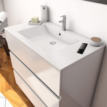 Ensemble Meuble de salle de bain blanc 80 cm sur pied 3 tiroirs + vasque ceramique blanche + miroir