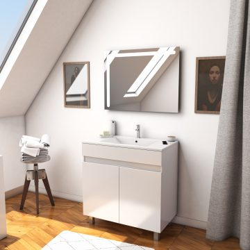 Ensemble Meuble de salle de bain blanc 80cm + vasque ceramique blanche + miroir led