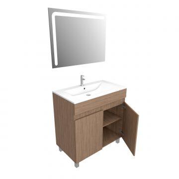 Ensemble Meuble de salle de bain chene celtique 80cm sur pied + vasque ceramique blanche + miroir