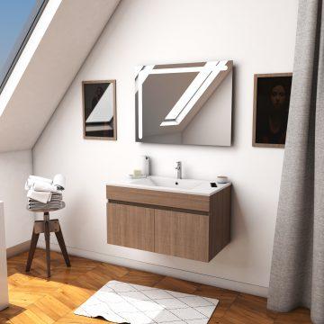 Ensemble Meuble de salle de bain chene celtique 80cm suspendu + vasque ceramique blanche + miroir
