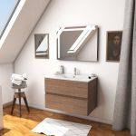 Ensemble Meuble de salle de bain chene celtique 60 cm suspendu 2 tiroirs + vasque ceramique blanche