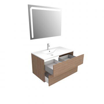 Ensemble Meuble de salle de bain chene celtique 80 cm suspendu 2 tiroirs + vasque ceramique blanche