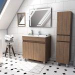 Ensemble Meuble de salle de bain chene celtique 60cm sur pied + vasque ceramique blanche + miroir