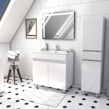 Ensemble Meuble de salle de bain blanc 80cm sur pied + vasque ceramique blanche + miroir led