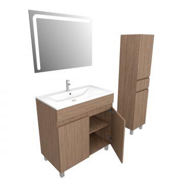 Ensemble Meuble de salle de bain chene celtique 80cm sur pied+ vasque ceramique blanche + mirroir