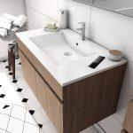 Ensemble Meuble de salle de bain chene celtique 60cm suspendu a portes + vasque ceramique blanche