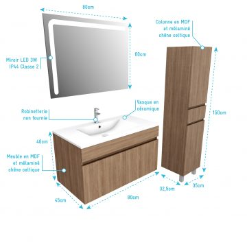 Ensemble Meuble de salle de bain chene celtique 80cm suspendu a portes + vasque ceramique blanche