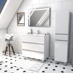 Ensemble Meuble de salle de bain blanc 60 cm sur pied 3 tiroirs + vasque ceramique blanche + miroir