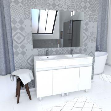 Ensemble Meuble de salle de bain blanc 120cm sur pied + vasque ceramique blanche + miroir led