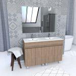 Ensemble Meuble de salle de bain chene celtique 120cm sur pied + vasque ceramique blanche + miroir