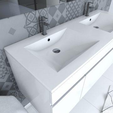 Ensemble Meuble de salle de bain blanc 120cm suspendu a portes + vasque ceramique blanche + miroir