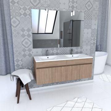 Ensemble Meuble de salle de bain chene celtique 120cm suspendu + vasque ceramique blanche + miroir