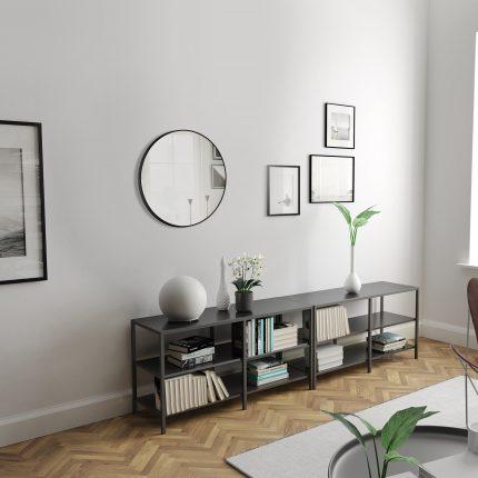 Miroir salle de bain circulaire 60cm de diametre - finition noir mat - RING DARK 60