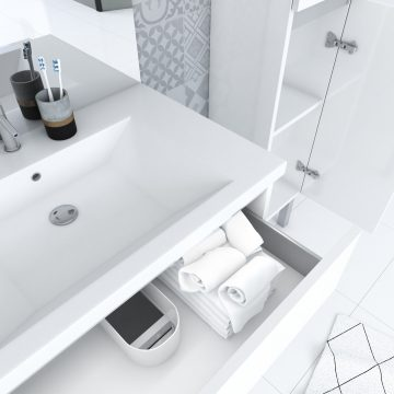 Ensemble de salle de bain 80 cm + vasque résine blanche + miroir LED + colonne de rangement