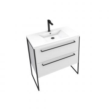 Meuble de salle de bain 80x50cm Blanc - 2 tiroirs - vasque resine blanche - pieds et poignées