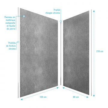 PACK PANNEAUX MURAUX effet PIERRE grise en composite avec profile d'angle et de finition chrome