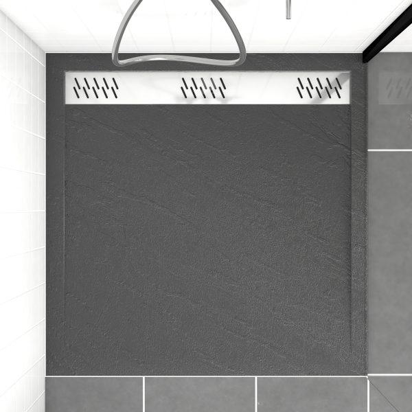 Receveur extra plat a poser - a caniveau - acrylique renforce GRIS effet pierre - anti-derapant
