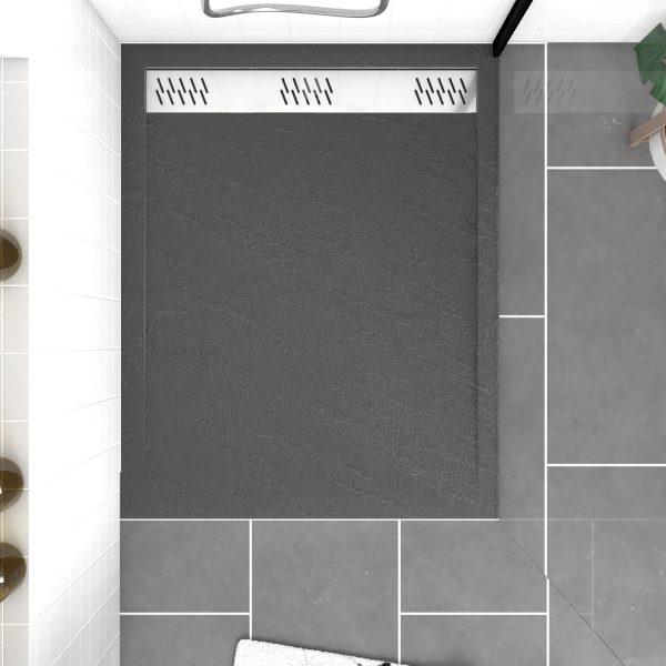 Receveur extra plat a poser 100X80 cm caniveau - acrylique renforce gris effet pierre
