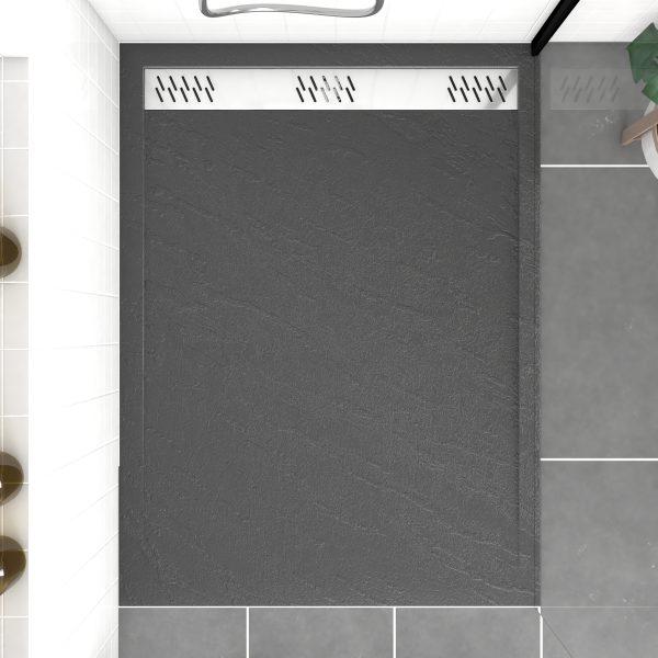 Receveur extra plat a poser 120x90 cm caniveau - acrylique renforce gris effet pierre