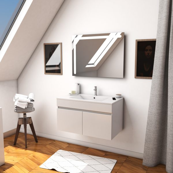 Ensemble Meuble de salle de bain blanc 60cm suspendu a portes + vasque ceramique blanche + miroir