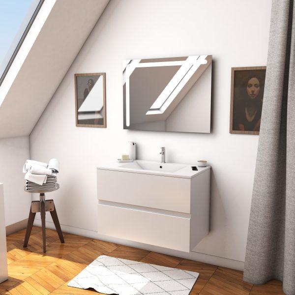 Ensemble Meuble de salle de bain blanc 80 cm suspendu 2 tiroirs + vasque ceramique blanche + miroir
